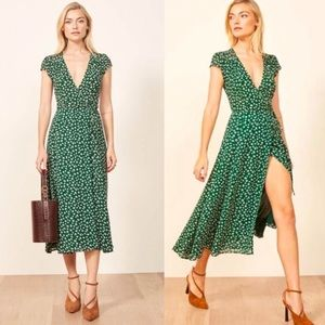Reformation carina wrap floral print green dress L